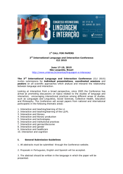 1st CALL FOR PAPERS 3rd International Language and Interaction