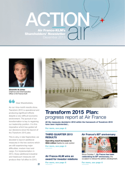 Transform 2015 Plan: - Air France
