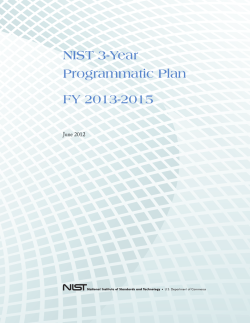 NIST Three-Year Programmatic Plan, FY 2013