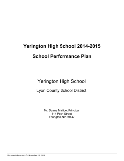 Yerington High School 2014-2015 School Performance Plan