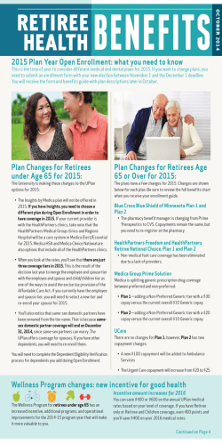 Plan Changes for Retirees Age 65 or Over for 2015: Plan Changes