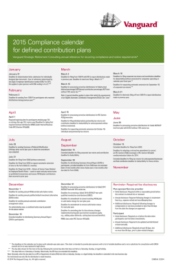 2015 Compliance calendar for defined contribution plans