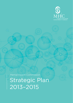Strategic Plan 2013–2015 - Mental Health Commission