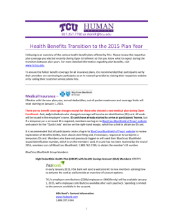 Health Benefits Transition to the 2015 Plan Year