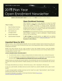 2015 Plan Year Open Enrollment Newsletter