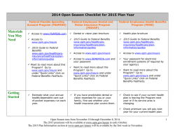 2014 Open Season Checklist for 2015 Plan Year