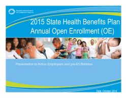2015 State Health Benefits Plan Annual Open Enrollment (OE)