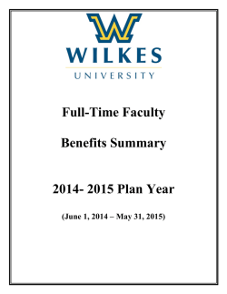 Full-Time Faculty Benefits Summary 2014