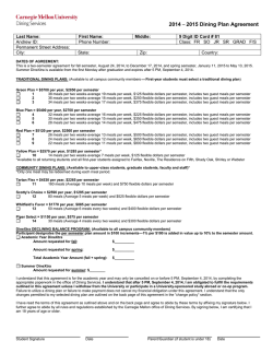 2014 – 2015 Dining Plan Agreement