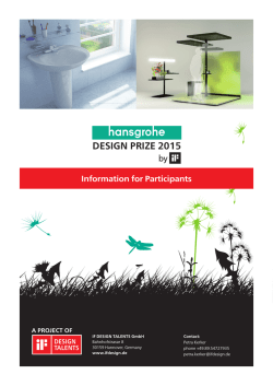 Information for Participants HANSGROHE DESIGN PRIZE 2015 by iF