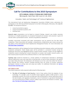 Call for Contributions to the 2015 Symposium