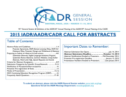 2015 IADR/AADR/CADR CALL FOR ABSTRACTS