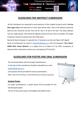 GUIDELINES FOR POSTER AND ORAL SUBMISSION