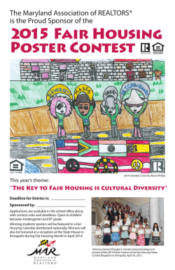 2015 Fair Housing Poster Contest - Maryland Association of Realtors