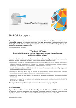 2015 Call for papers - Association for NeuroPsychoEconomics