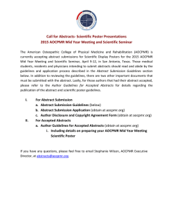 Call for Abstracts- Scientific Poster Presentations 2015 AOCPMR