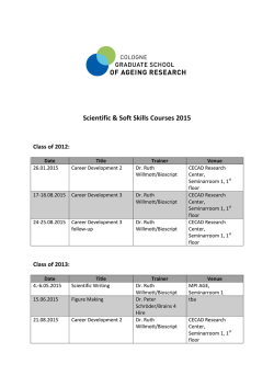 soft skills training - Cologne Graduate School of Ageing Research