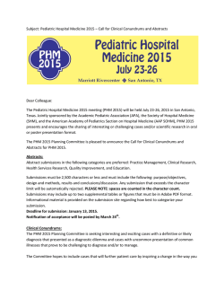 PHM 2015 - Academic Pediatric Association