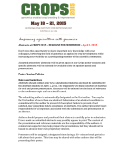 Abstracts at CROPS 2015 – DEADLINE FOR