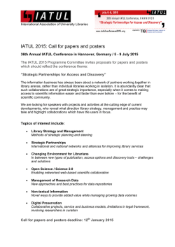 Call for papers and posters - 36th Annual IATUL Conference 2015