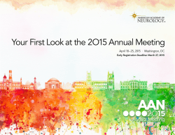 Your First Look at the 2O15 Annual Meeting