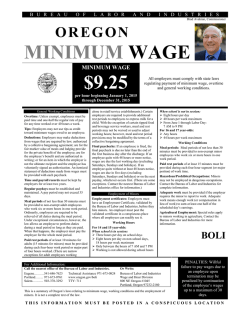 2015 Oregon Minimum Wage Poster