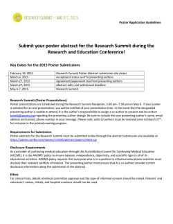 Submit your poster abstract for the Research Summit during the
