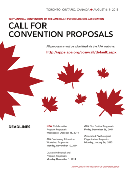call for convention proposals - American Psychological Association
