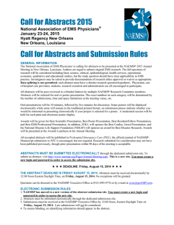 2015 Call for Abstracts - National Association of EMS Physicians