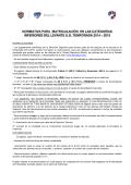 normativa para matriculación en las categorías inferiores del levante