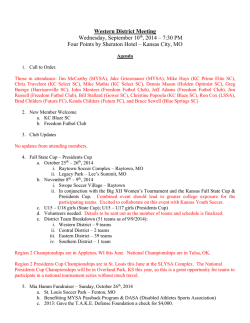Western District Meeting Wednesday, September 10th, 2014 – 7:30