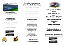 Travel arrangements 2015 Football Academy - bysc