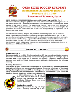 2015 ITP Spain Announcement Itinerary