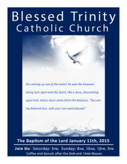 The Bapsm of the Lord January 11th, 2015 - E-churchbulletins.com