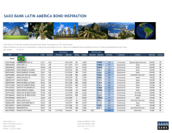 SAXO BANK LATIN AMERICA BOND INSPIRATION