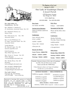 Our Lady of Guadalupe Church A Jesuit Parish - E-churchbulletins