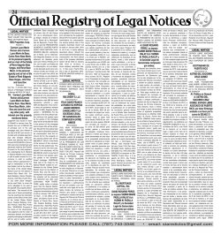 Official Registry of Legal Notices - The San Juan Daily Star