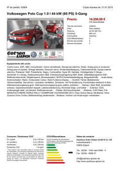 Volkswagen Polo Cup 1.0 l 44 kW (60 PS) 5-Gang