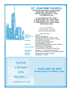 JANUARY 18, 2015 ST. JOACHIM CHURCH