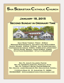 January 18, 2015 San Sebastian Catholic Church