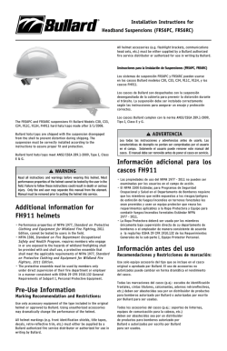Additional information for FH911 helmets Pre-Use