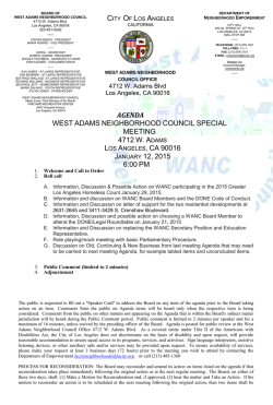 agenda west adams neighborhood council special meeting 4712 w