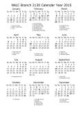 2015 Calendar One page