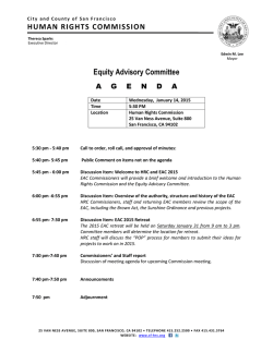 Equity Advisory Committee HUMAN RIGHTS COMMISSION