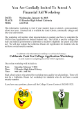 You Are Cordially Invited To Attend A Financial Aid Workshop DATE