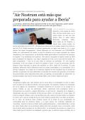 """Air Nostrum está más que preparada para ayudar a Iberia"""
