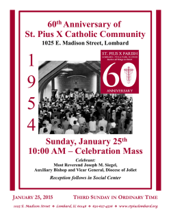 Weekly Bulletin - St. Pius X Catholic Community