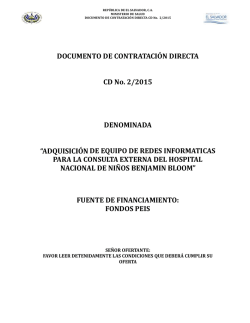 DOCUMENTO DE CONTRATACIÓN DIRECTA CD No. 2/2015
