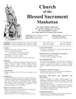 January 25th, 2015 - The Church of the Blessed Sacrament