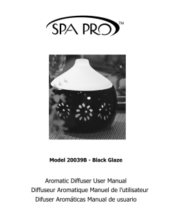 Aromatic Diffuser User Manual Diffuseur Aromatique Manuel de l